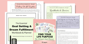 Product image for the Goal Setting & Dream Fulfillment Workbook and Planner with salmon color background