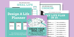 Product image with purple background and 4 pages that showcase the Design A Life Planner & 20-Day Challenge
