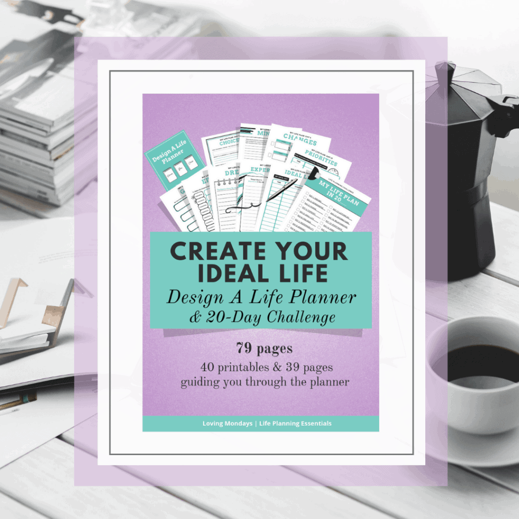 Product image of the 'Create your Ideal Life' printable planner with purple and green edges. Also includes a black and white image in the background with magazines, a French press and cup of coffee.