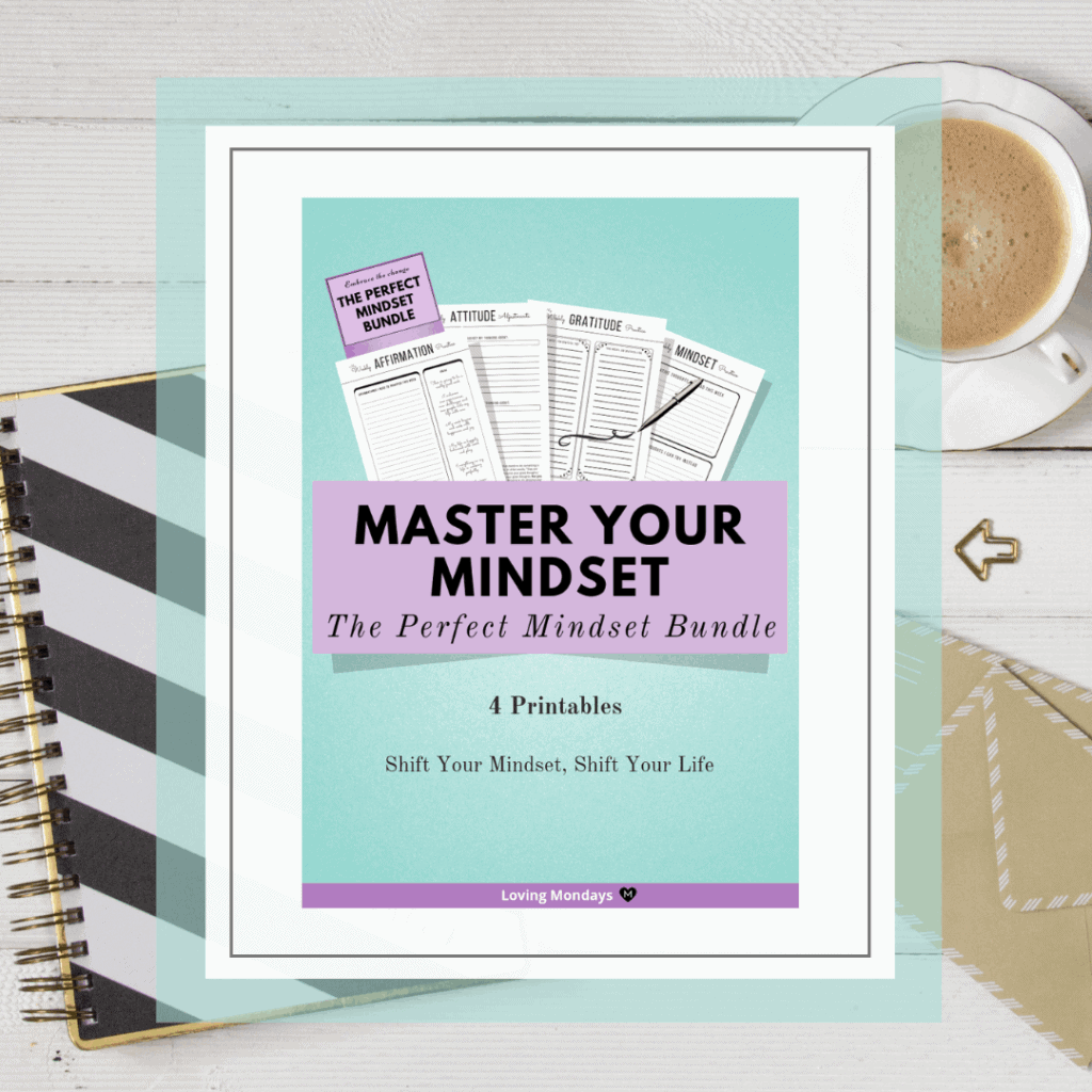 Product image of the master your mindset printable planner with light green and purple. Also includes a black and white image in the background with a planner, brown envelop and cup of coffee