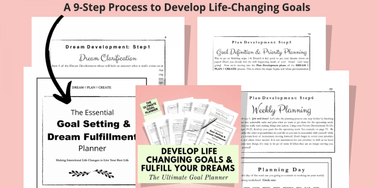 Product image with a salmon color background and images from the Ultimate Goal Planner