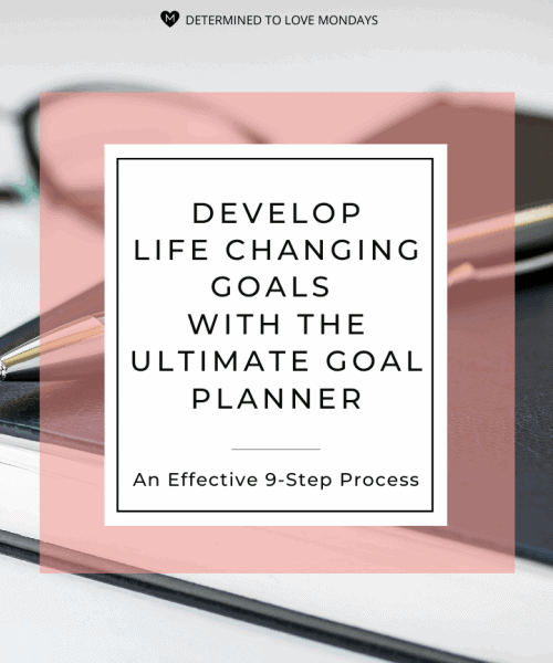 Title image with a salmon colored border and a background image of a planner and pen